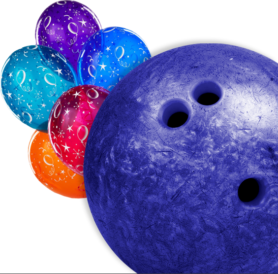 bright beautiful birthday balloons with a bowling ball in bowling alley