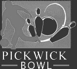 Pickwick logo black and white drawing of a person bowling and knocking down pins