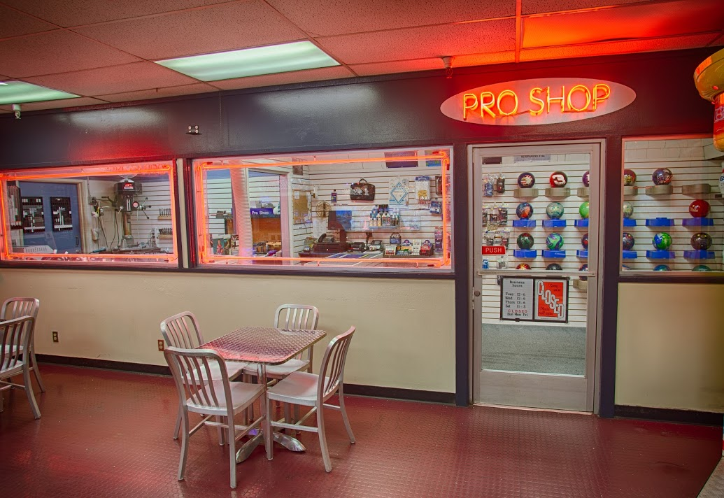 Brand new bowling Pro Shop with brand new bowling balls, equipment, lessons, and more.